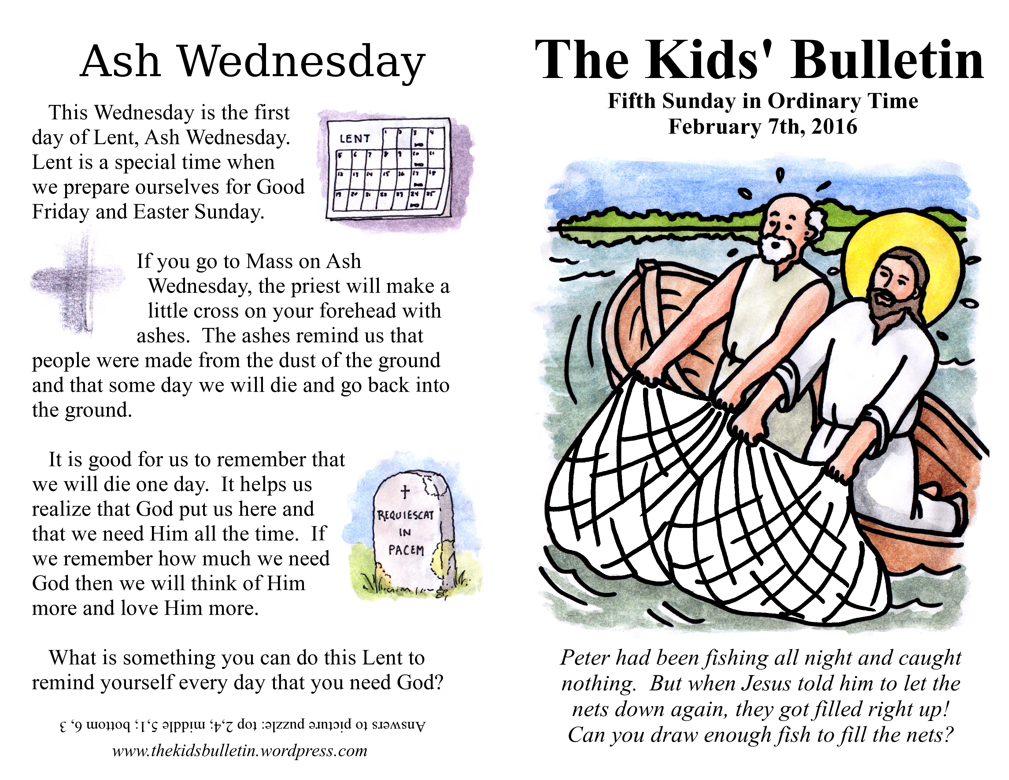 The Kids' Bulletin for Sunday February 7th, 2016 | The Kids ...