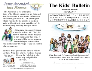 The Kids' Bulletin Ascension Sunday