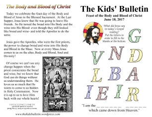 The Kids' Bulletin Body and Blood of Christ
