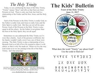 The Kids' Bulletin Trinity Sunday