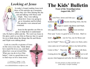 The Kids' Bulletin Transfiguration Sunday August 6