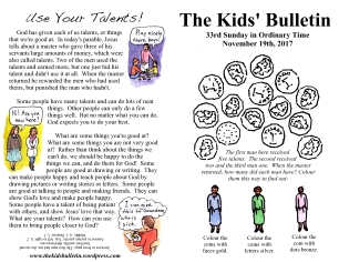 The Kids' Bulletin 33rd Sunday