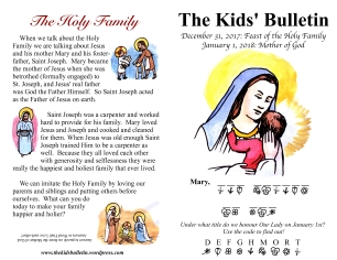 The Kids' Bulletin Mother of God and Holy Family