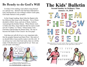 The Kids' Bulletin 2nd Sunday