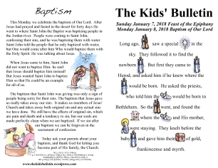 The Kids' Bulletin Epiphany and Baptism