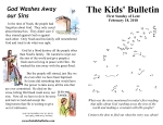 The Kids' Bulletin for Sunday February 18th, 2018: First Sunday of Lent