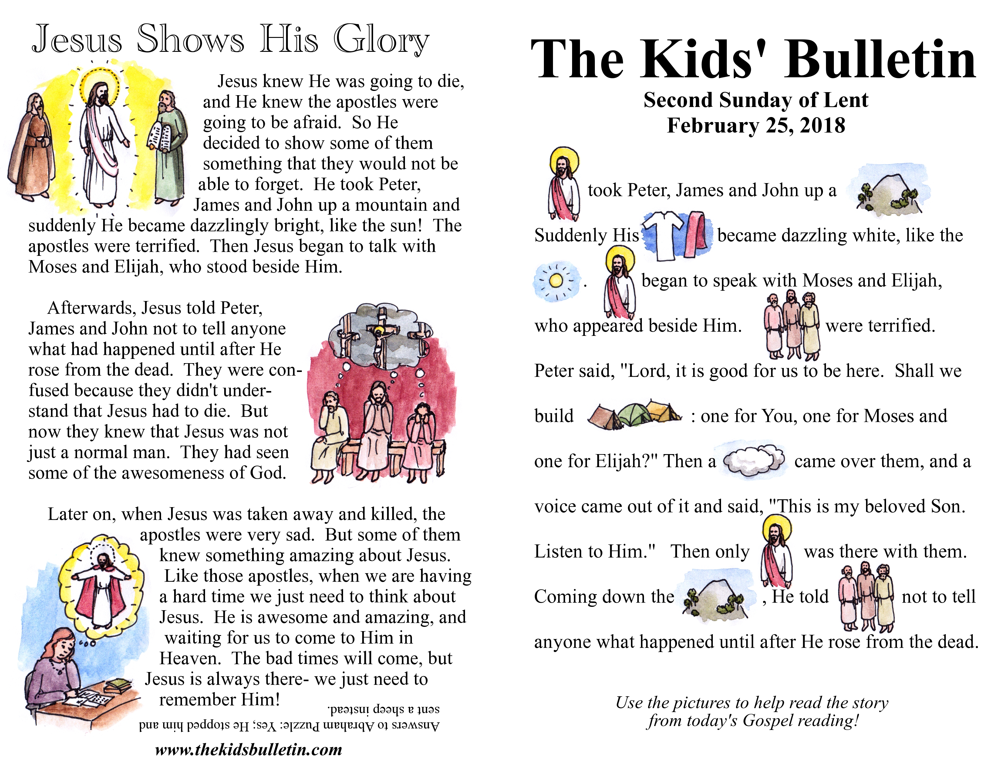 The Kids' Bulletin for Sunday February 25th, 2018 | The ...