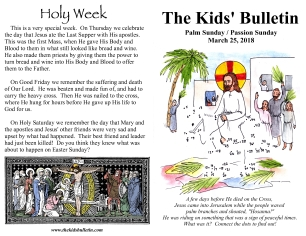 The Kids' Bulletin Passion Palm Sunday
