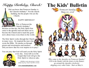 The Kids' Bulletin Pentecost Sunday