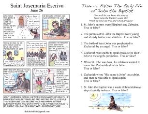 The Kids' Bulletin Birth of John the Baptist June 24 inside