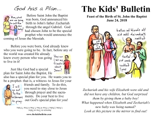 The Kids' Bulletin Birth of John the Baptist June 24