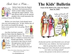 The Kids' Bulletin Birth of John the Baptist June 24