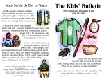 The Kids' Bulletin for Sunday July 15th, 2018