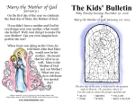 The Kids' Bulletin for Holy Family Sunday & Mary the Mother of God (Dec. 30 2018 & Jan 1 2019)