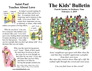 the kids' bulletin 4th sunday