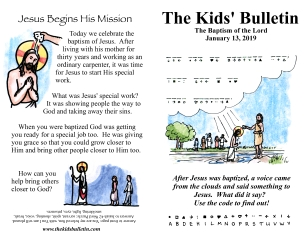 the kids' bulletin baptism of our lord