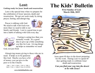 The Kids' Bulletin 1st Sunday of Lent