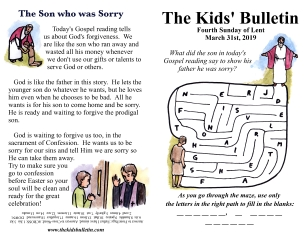 The Kids' Bulletin 4th Sunday of Lent