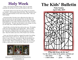 The Kids' Bulletin Palm Sunday