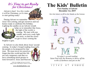 The Kids' Bulletin 1st Sunday of Advent