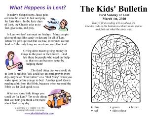 The Kids' Bulletin 1st Sunday of Lent